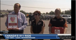 Mikey Network places public access defibrillators at Canada's 911 Ride